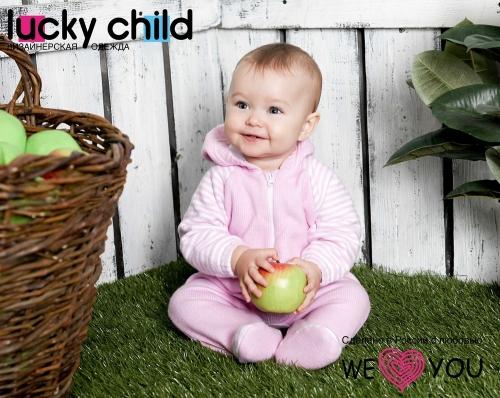 Комбинезон Lucky Child ПОЛОСКИ с капюшоном на молнии (арт. 4-13) экрю,размер 24 (74-80)