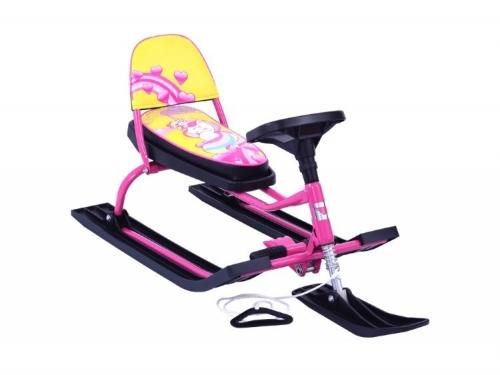 Снегокат Барс SNOWKAT Comfort Baby Friends' Милаша со складной спинкой, розовая рама - 124