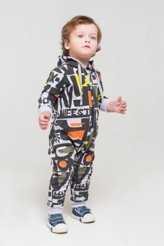 Комбинезон для мальчика, Сrockid манифест на светло-сером, размер 86
