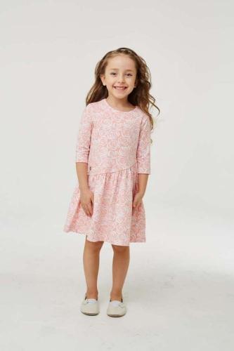 Платье для девочки размер 134, розовое с розами, УМКА