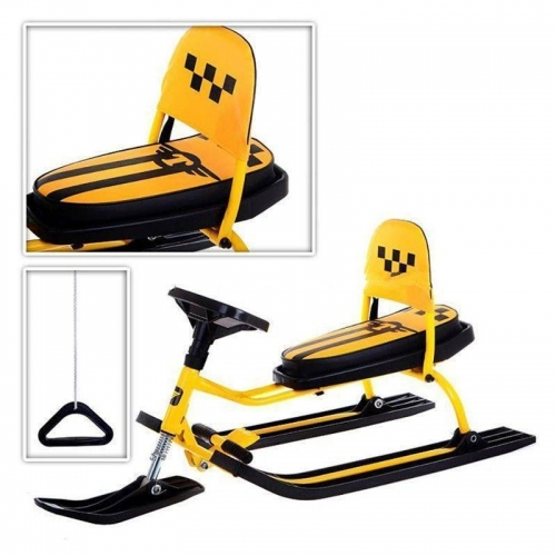 Снегокат Барс SNOWKAT Comfort Taxi cо складной спинкой, желтая рама - 107