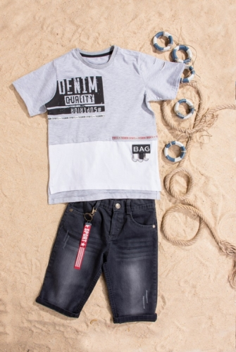 Костюм шорты с футболкой для мальчика, размер 5 лет, серый, Bebus