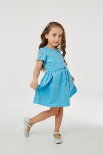Платье для девочки р.104, голубое в горошек UMKA