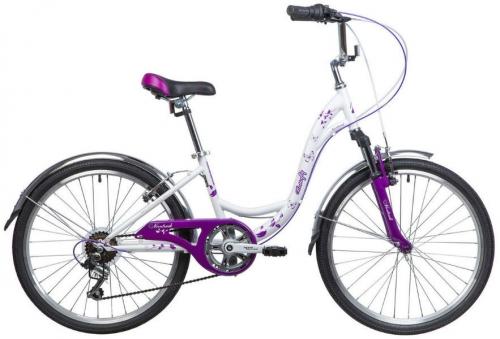 Велосипед Novatrack Butterfly, белый/сиреневый, рама 20