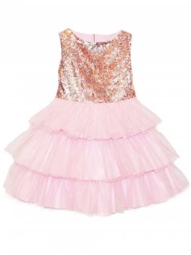 Платье для девочки Bon&Bon с пайетками, розовое, 4-7 лет