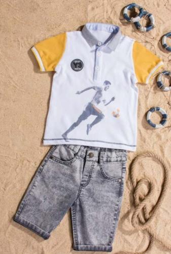 Костюм шорты с футболкой для мальчика, размер 5 лет, желтый, Bebus