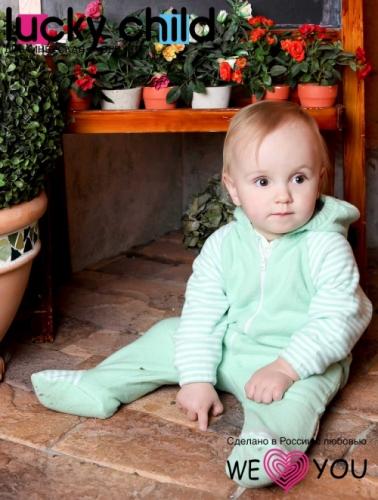 Комбинезон Lucky Child ПОЛОСКИ с капюшоном на молнии (арт. 4-13 зеленый),размер 20 (62-68)