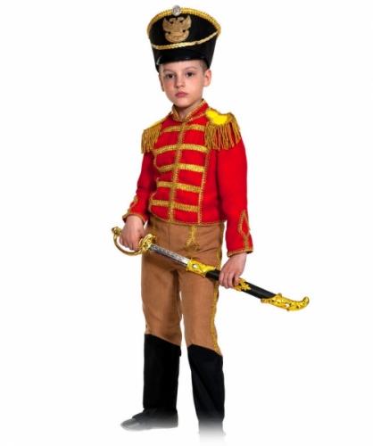 Карнавальный костюм Гусар (замш) красно-бежевый с сапогами new, 7-9 лет