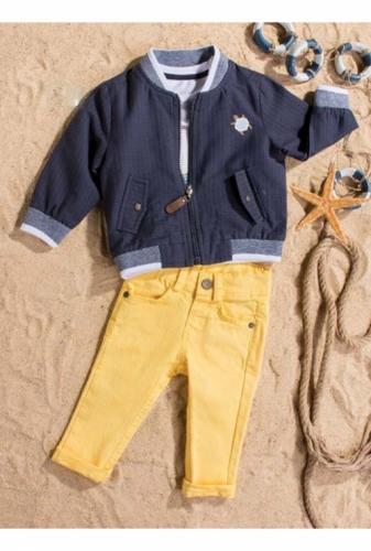 Костюм для мальчика, размер 9 месяцев, темно-синий/желтый, Bebus