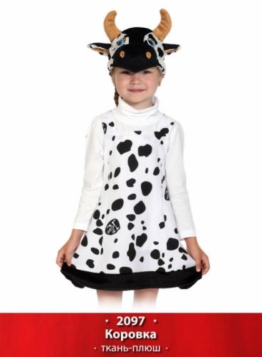 Карнавальный костюм Коровка ткань-плюш new (сарафан, маска) 3-6 лет