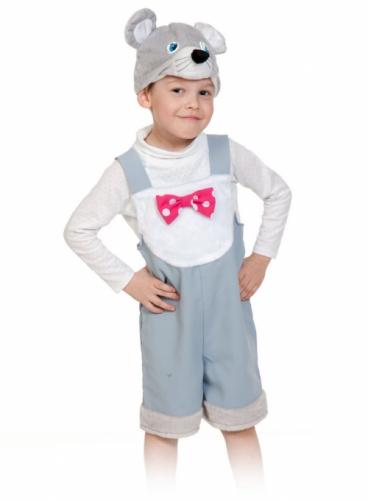 Карнавальный костюм Мышонок ткань-плюш (полукомбинезон, маска) 3-6 лет