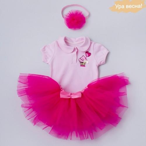 Комплект для девочки Малина демисезонный Крошкин дом р.20 (рост 62-68 см), темно-розовый