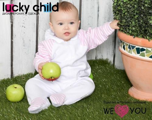 Комбинезон Lucky Child ПОЛОСКИ с капюшоном на молнии (арт. 4-13 бело-розовый),размер 22 (68-74)