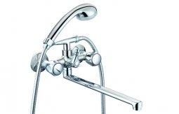 Смеситель для ванны Mix-n-Fix Petit 1407-03 двуручный с L-изливом 350 мм и аксессуарами
