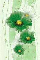 Вставка Golden Tile Маргарита зеленый Б84391 200х300