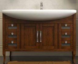 Тумба под умывальник Opadiris Мираж 120 Светлый орех 88x47.5x121.5 с зеркалом, двумя навесными шкафами и козырьком с подсветкой