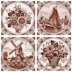 Декор Нефрит-керамика Акварель 04-03-1-14-03-15-136-1 20x20 Коричневый