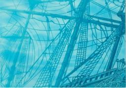 Декор Береза-керамика Лазурь панно корабль 4 бирюзовый 25х35
