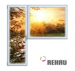 Балконный блок ПВХ Rehau 2100х2100 мм 1-Г 1 стеклопакет